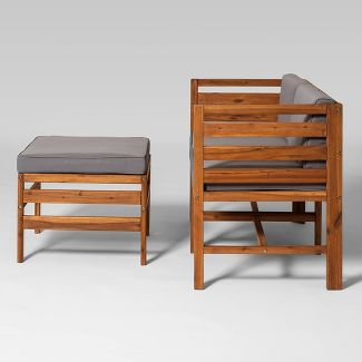 3pc Modular Outdoor Acacia L/R Chairs + Ottoman - Brown - Saracina Home