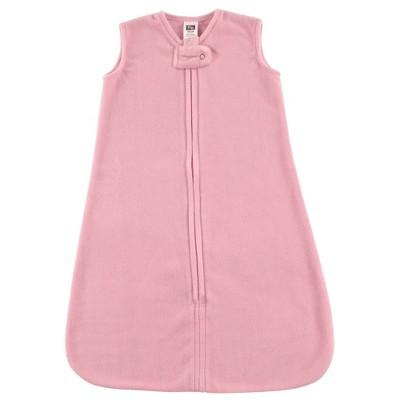 Hudson Baby Unisex Baby Plush Sleeping Bag Sack Blanket - Solid Light Pink Fleece 12-18 Months