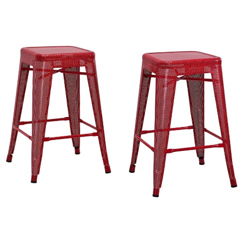 "Nova 24"" Metal Mesh Backless Counter Stool (Set of 2) - Red - Dorel Home Products - image 1 of 4"