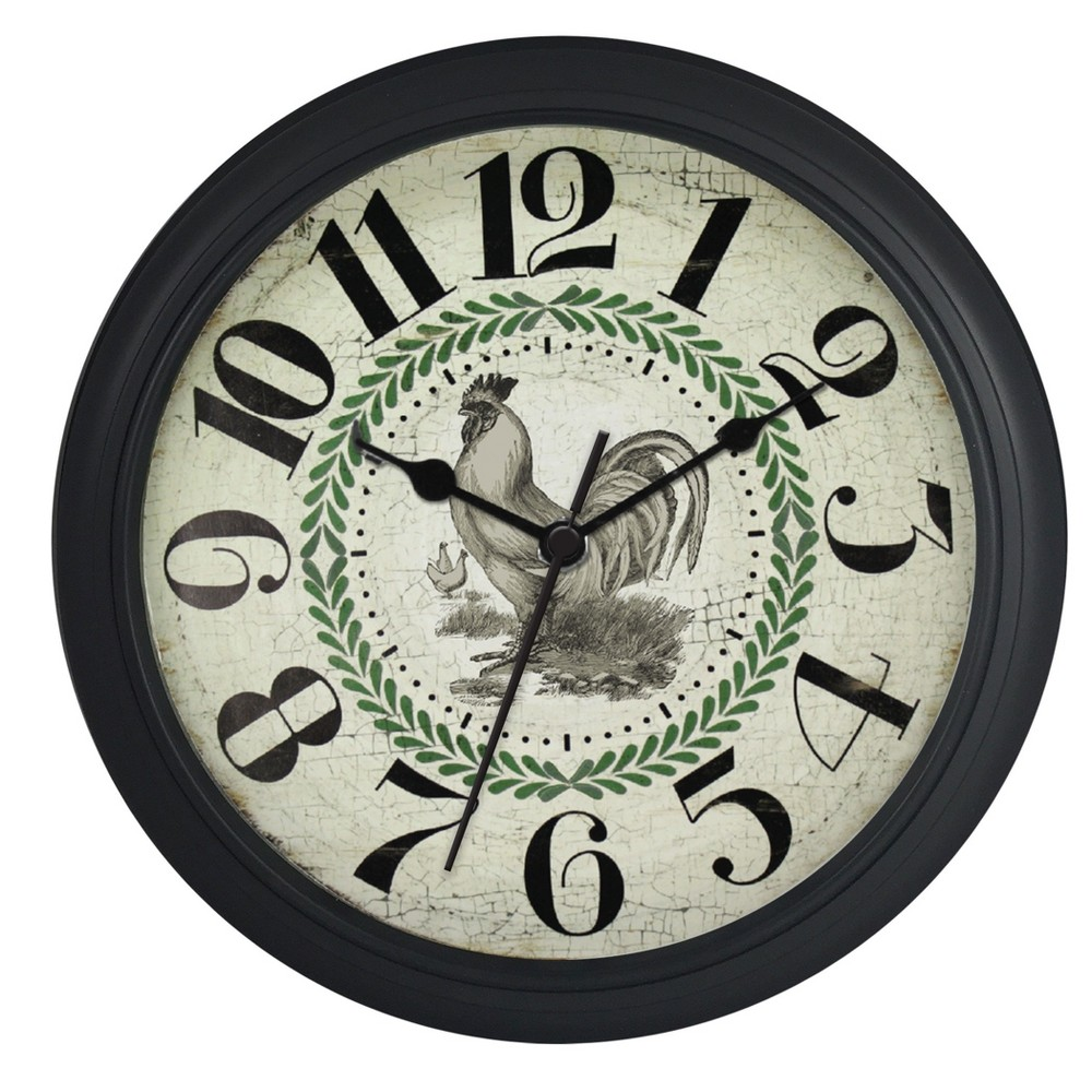 Image of Round 10 Thick Black Case with Rooster Dial Wall Clock - Nelsonic