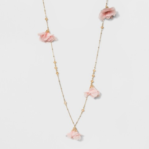 Fltizys and Flowers Long Necklace - A New Day™ Pink/Gold - image 1 of 3