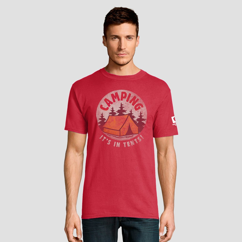Hanes Men's Short Sleeve National Parks Camping - It's In Tents Graphic T-Shirt - Red M
