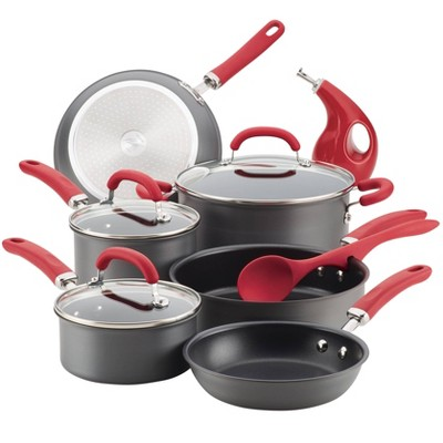 Rachael Ray Create Delicious 11pc Hard Anodized Nonstick Cookware Set Red Handle