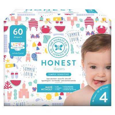 Honest Company Disposable Diapers, Shore Thing - Size 4 (60ct)
