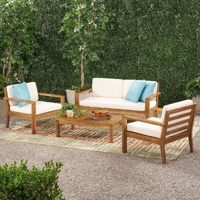 Santa Ana 4pc Acacia Wood Chat Set - Teak/Cream - Christopher Knight Home