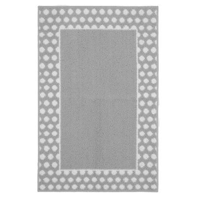 Garland Polka Dot Frame Accent Rug - Silver/White (2'6 x3'10 )