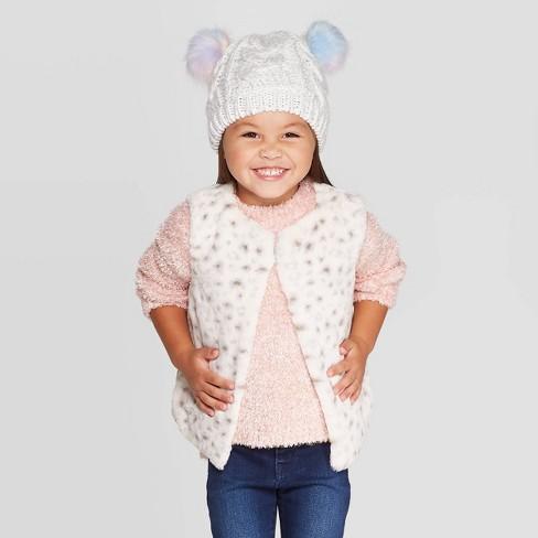 Toddler Girls' Snow Leopard Faux Fur Vest - Cat & Jack™ Off-White  - image 1 of 3