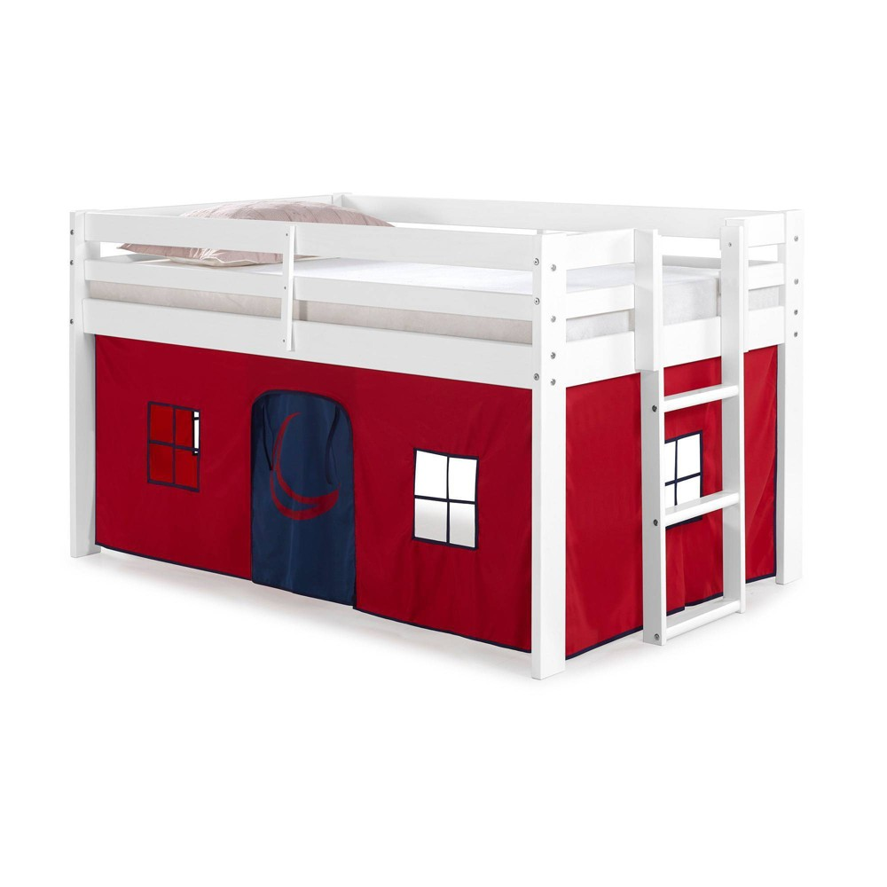 Twin Augusta Junior Loft Bed With Frame And Bottom Playhouse Tent White Red Blue Alaterre Furniture