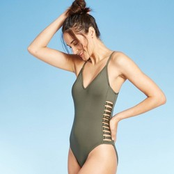 Women's Strappy Side One Piece Swimsuit - Shade & Shore™ Palm Green
