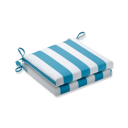 2pc Cabana Stripe Squared Corners Outdoor Seat Cushion - Turquoise - Pillow Perfect - image 1 of 1