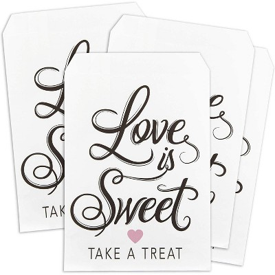 """Sparkle and Bash 100-Pack """"Love Is Sweet"""" Wedding Party Favors Paper Treat Bags Small Gift Bags (White, 5 x 7.5 in)"""
