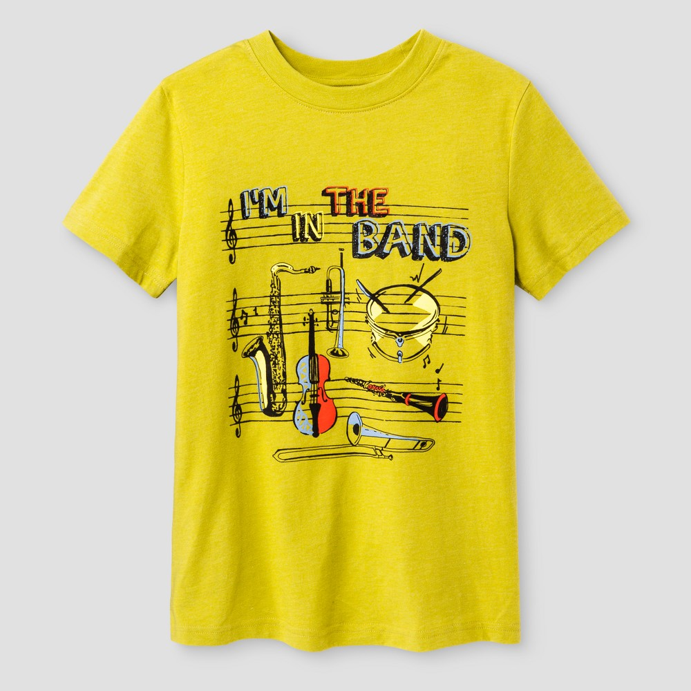 Boys' Band Graphic Short Sleeve T-Shirt - Cat & Jack Yellow L, Green