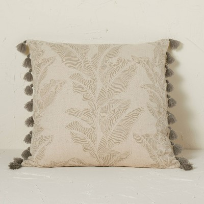 Printed Botanical Textured Linen Square Throw Pillow Neutral - Opalhouse™ designed with Jungalow™