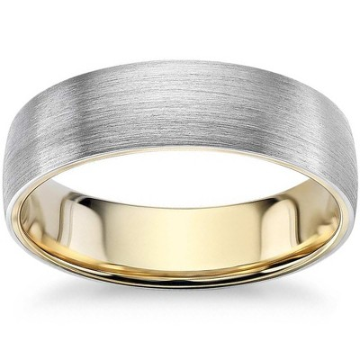 Pompeii3 Mens 10k White and Yellow Gold Two Tone Brushed Wedding Band 5mm