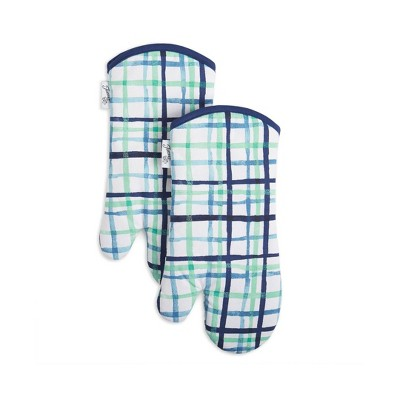 2pk Cotton Printed Watercolor Plaid Oven Mitts Blue/White - Fiesta