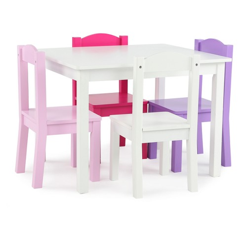 Wood Table & 4 Chairs - Friends Collection - White/Bright Colors - Tot Tutors - image 1 of 3