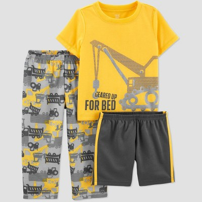 Toddler Boys' 3pc Construction Poly Pajama Set - Just One You® made by carter's Yellow 2T