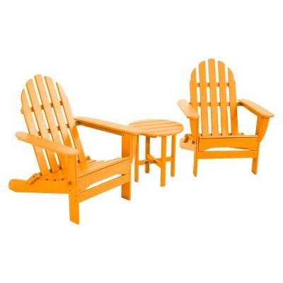 POLYWOOD® Classic 3 Piece Adirondack Patio Chat Furniture Set   Orange