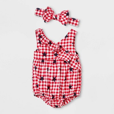 Baby Girls' Gingham Star Print Ruffle Romper with Headband - Cat & Jack™ Red 3-6M