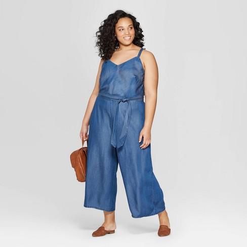 2279958a0497 Women s Plus Size Sleeveless Denim Jumpsuit - Universal Thread™ Medium Blue