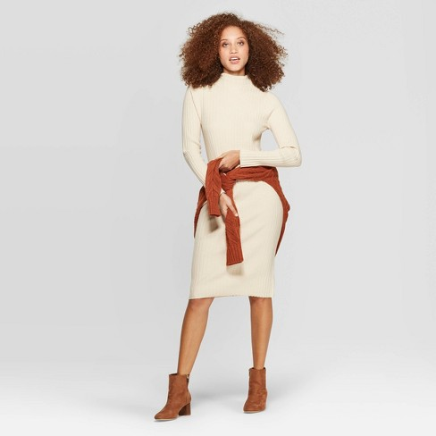 Women's Long Sleeve Mock Turtleneck Sweater Dress - A New Day™ - image 1 of 3