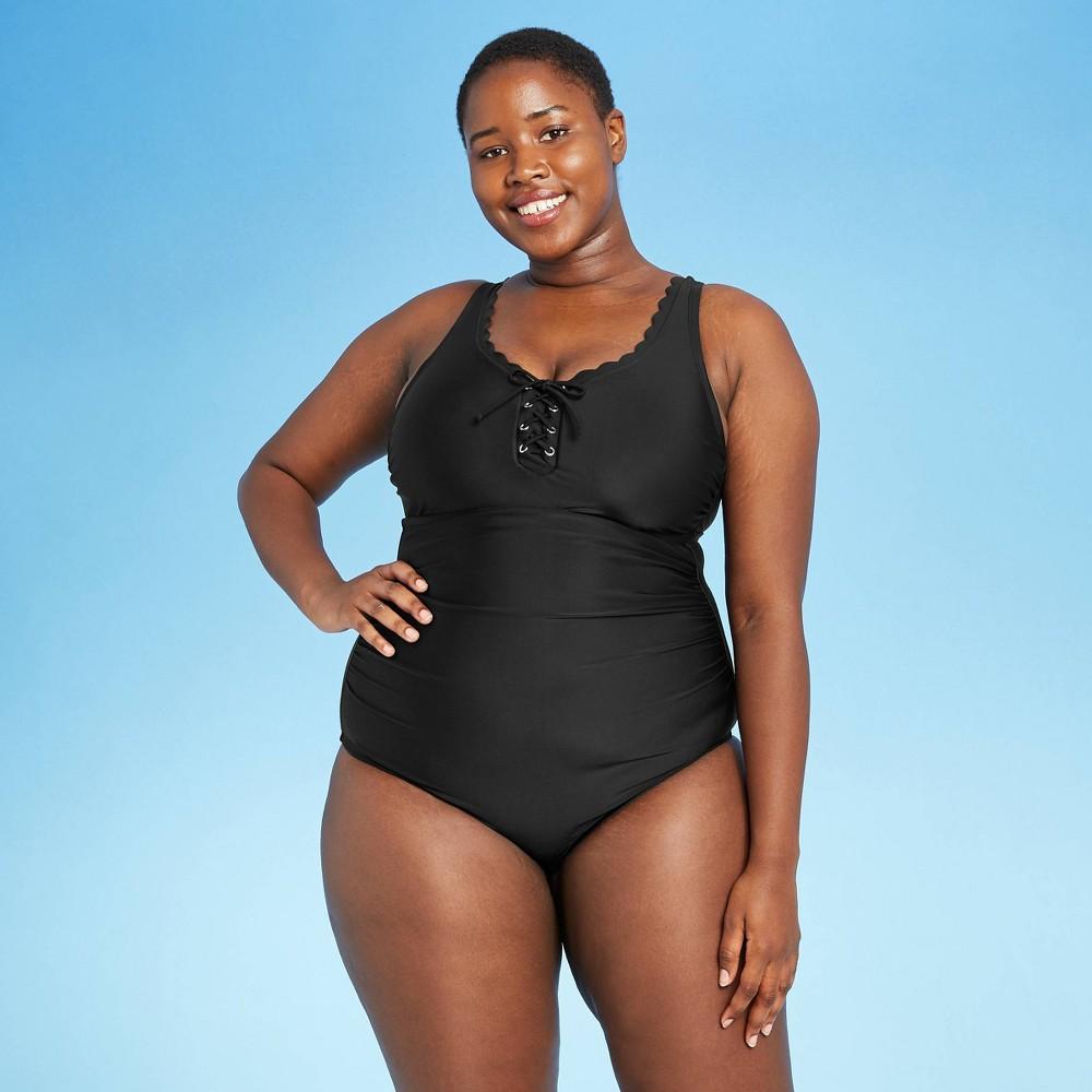 Women 39 S Plus Size Grommet Scallop One Piece Swimsuit Kona Sol 8482 Black 20w