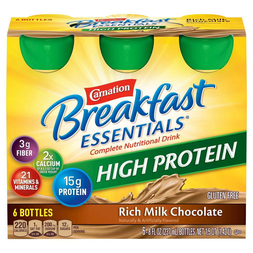 Carnation Breakfast Essentials High Protein Ready to Drink Rich Milk Chocolate - 6ct/48oz