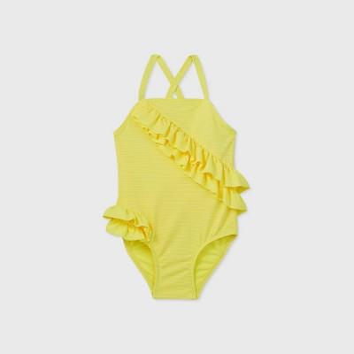 Toddler Girls' Ruffle Wrap One Piece Swimsuit - Cat & Jack™ Yellow