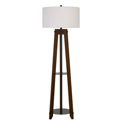 "65"" 3-way Bilzen Ash Wood Tripod Floor Lamp Walnut - Cal Lighting"