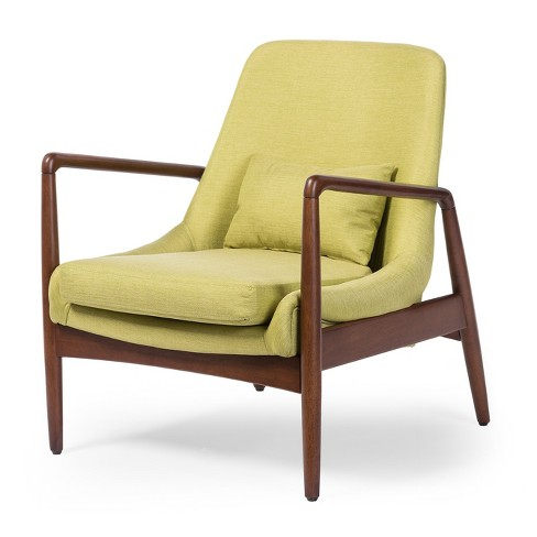 Carter Mid Century Modern Retro Fabric Upholstered Leisure Accent Chair In Walnut Wood Frame Green Baxton Studio