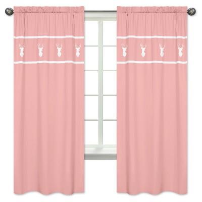 Coral & White Woodland Deer Curtain Panel - Sweet Jojo Designs®