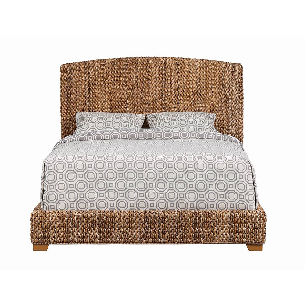 Image of Eastern King Lakeside Woven Banana Leaf Bed Rustic Brown - Private Reserve