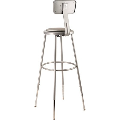 2pk Adjustable Heavy Duty Vinyl Steel Stool With Backrest Gray - Hampton Collection : Target