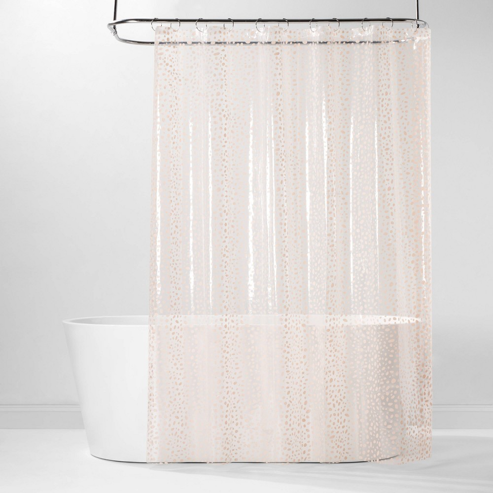 Image of PEVA Shower Curtain Pink Dots - Room Essentials , Clear Pink