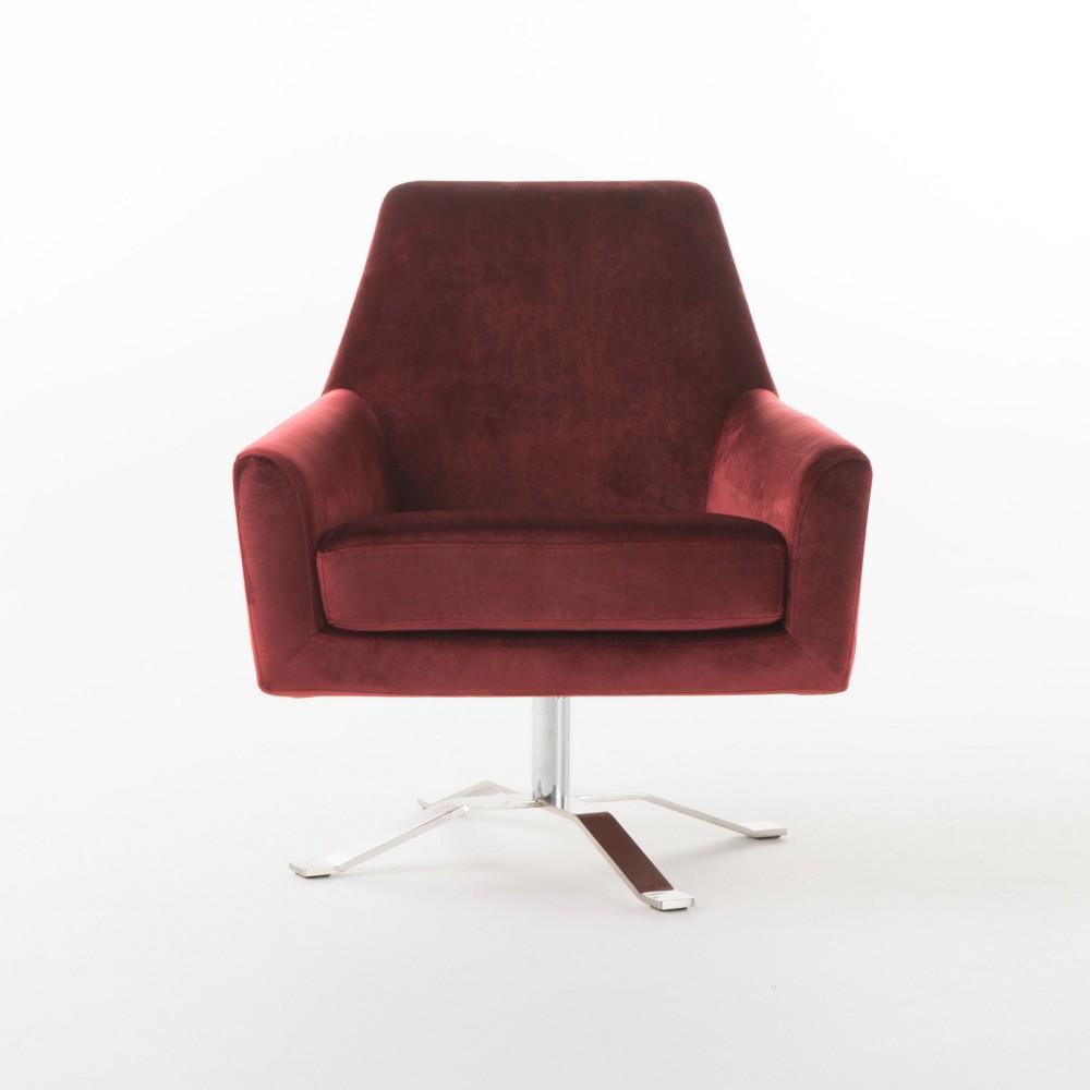 Ailis New Velvet Swivel Club Chair - Garnet (Red) - Christopher Knight Home