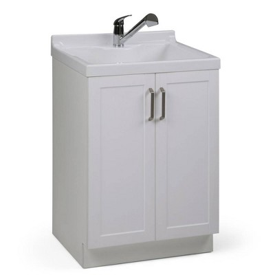 Lindor Transitional Laundry Cabinet with Pull-Out Faucet and ABS Sink White - WyndenHall
