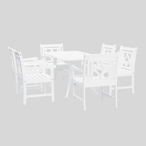 Bradley 7pc Wood Curvy Outdoor Patio Dining Set - White - Vifah - image 1 of 4