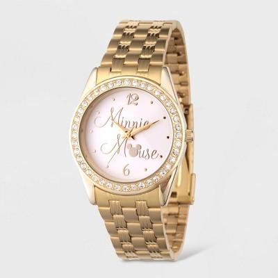 Women's Disney Minnie Mouse Glitz Bracelet Watch - Gold