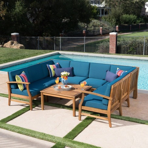 Perla 9pc Acacia Wood Seating Set - Christopher Knight Home - image 1 of 4