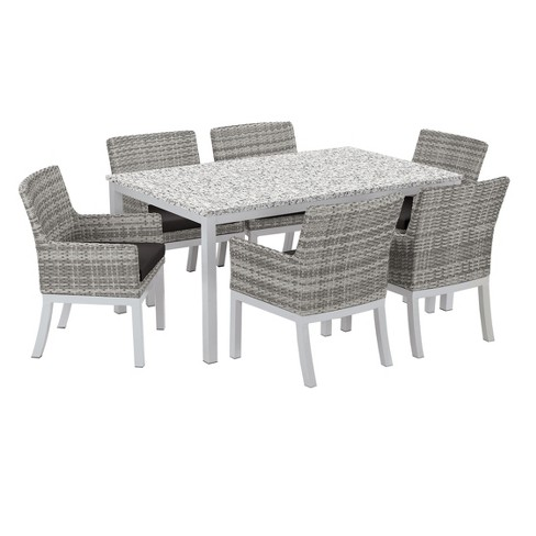"Travira 7pc Patio Dining Set with 63""x40"" Table - Powder Coated Aluminum - Lite-Core Ash - Argento Wicker - Jet Black Cushion - Oxford Garden - image 1 of 3"