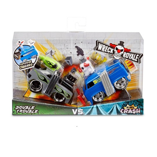 Wreck Royale Exploding Crashing Double Trouble vs. King Cra$h Race Cars - 2-Pack image number null