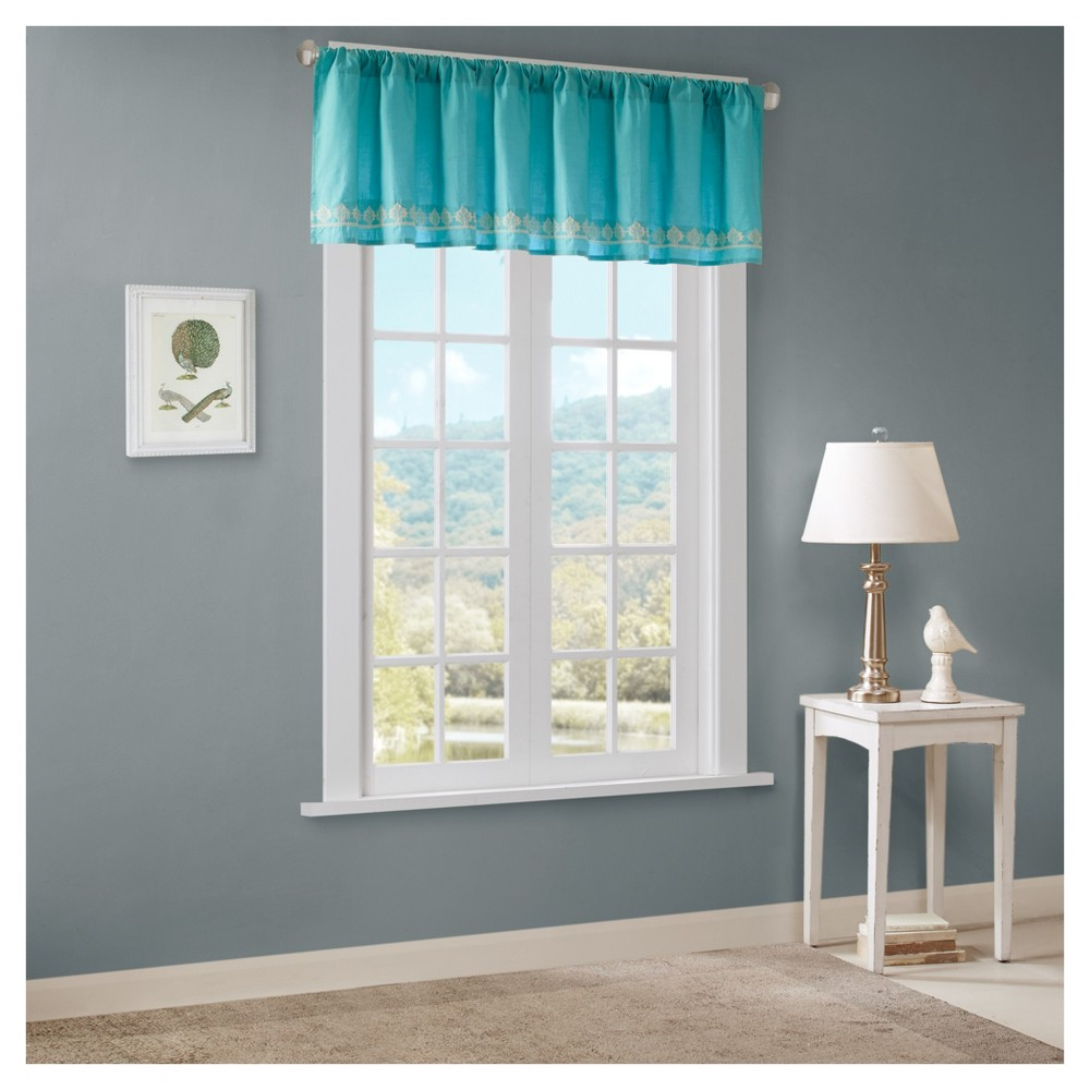 "Naomi 100% Cotton Embroidered Valance Teal (Blue) (50""X18"")"