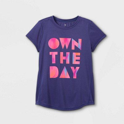 Girls' Short Sleeve 'Own The Day' Graphic T-Shirt - All in Motion™ Grape