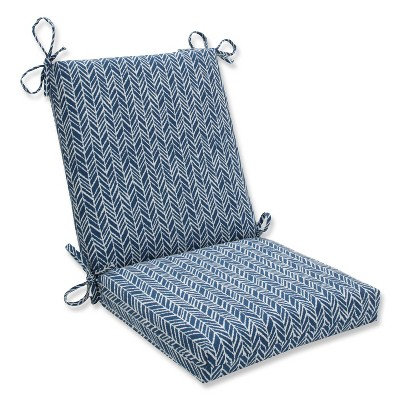 Outdoor/Indoor Herringbone Ink Blue Squared Corners Chair Cushion - Pillow Perfect