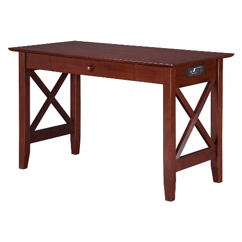 Writing Desk Modern Feel USB Charger Walnut - Atlantic Furniture - image 1 of 5