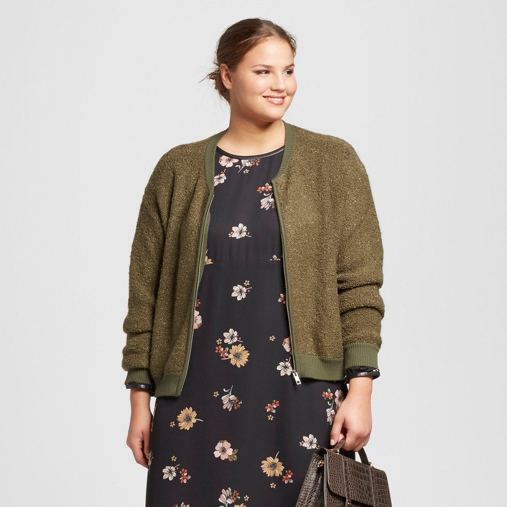 Women's Plus Size Boucle Bomber - Who What Wear Olive (Green) 1X