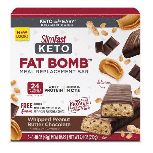 SlimFast Keto Fat Bomb Meal Replacement Bar - Whipped Peanut Butter Chocolate - 5ct - image 1 of 4