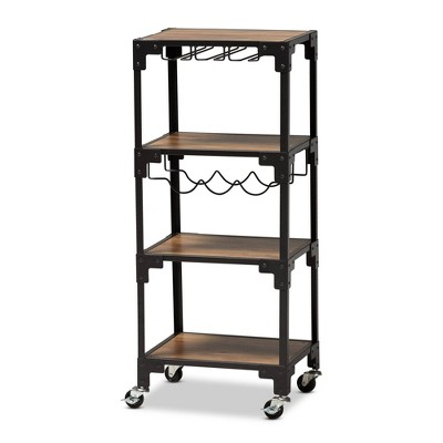 4 Tier Victor Wood and Metal Mobile Wine Cart Walnut/Black - Baxton Studio