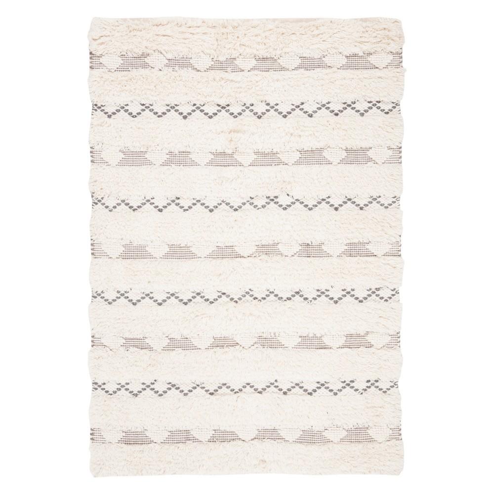 4'X6' Tribal Design Woven Area Rug Ivory/Gray - Safavieh, White