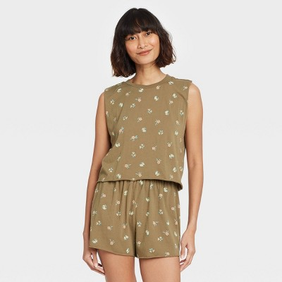 Women's Floral Print Tank Top and Shorts Pajama Set - Grayson Threads Green